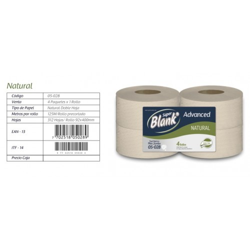 Papel higiénico advanced mini jumbo natural